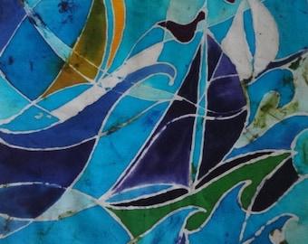 Batik picture. 'Choppy Sea' (52 x 52 x 4.5cm) -original