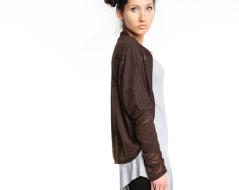 Brown bolero, Brown lycra jersey bolero, oversized bolero, freeform bolero, brown shrug, brown steampunk torn holes shrug ANDADA 002