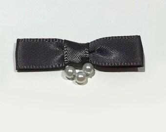 40 gun metal grey satin belt bows with three pearl detail