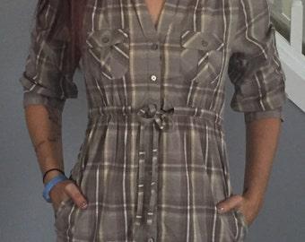 Tan Plaid Shirt Dress