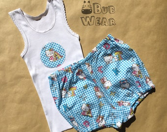 Singlet and Diaper Pants Set in Blue Hello Kitty Pattern