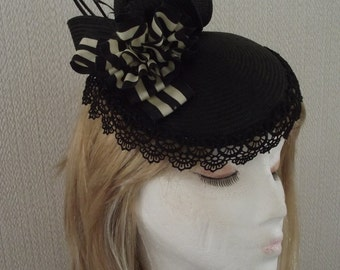Fascinator,Hatinator  Black.Cream,