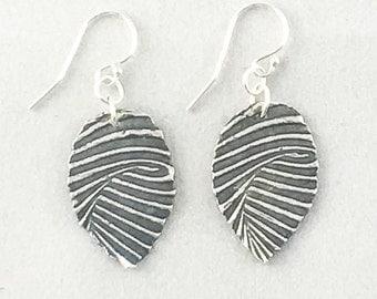 Printed Pure Silver Earrings