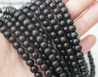 6-7mm Black Ebony Wood Beads Round -Full Strand Jewelry Supply