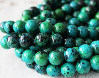 12mm Chrysocolla, Large Beads, Round Green, Gemstone Beads, Green Chrysocolla, Large Gemstone Beads, Large Green Beads, Green Beads,