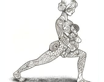 "7 x 7"" Giclee Print - Mother and Baby Yoga Illustration - Virabhadrasana 'Warrior pose' - Breast Feedings"