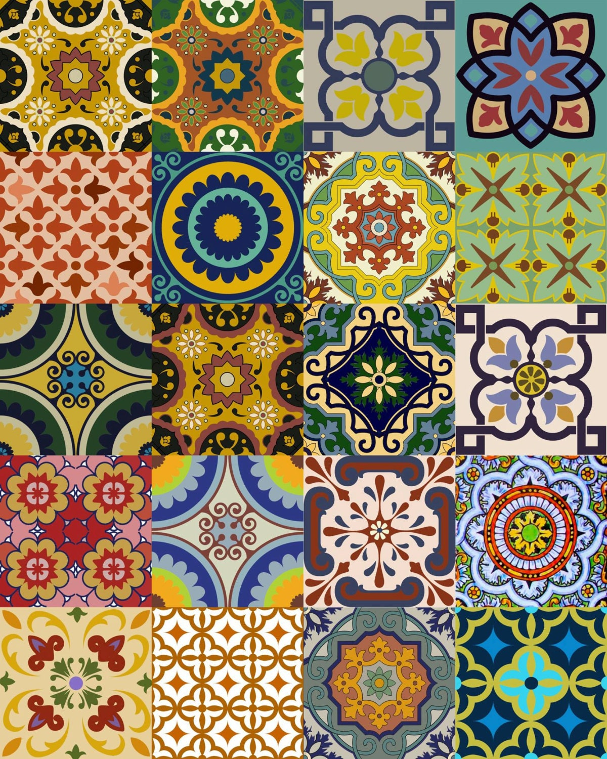 Mexican Tiles: Splashback 24 Tile Stickers Mexican Tile Stickers Mixed For