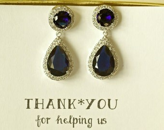 Set of 9 Earrings Navy Blue Wedding Earrings, Royal Blue Earrings, Blue Crystal Earrings, Blue Dangle Earrings, Blue Bridal Earrings, ES9