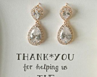 Rose Gold Crystal Earrings, Crystal Wedding Earrings, Sparkly Earrings, Swarovski Earrings, Rose Gold Bridesmaid Earrings, ES1