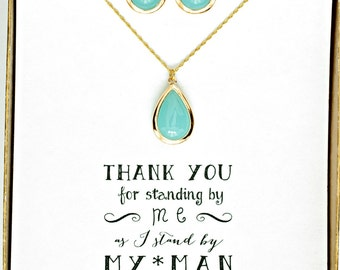 10 Sets Bridesmaid Jewelry Set of 10, Mint Necklace and Earrings Gold,Bridesmaid Necklace Earrings Set, Mint Green Bridesmaid Jewelry, MP10