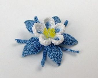 Columbine Applique Irish Crochet Blue Aquilegia Embelishment Decoration Realistic Petals Original Design Handmade Fiber Arts