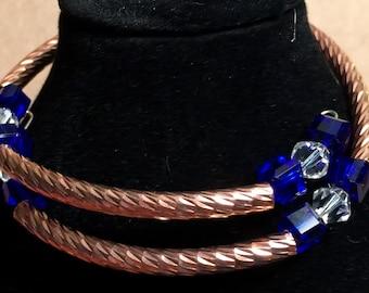 Copper and Cobalt Blue crystal bracelet
