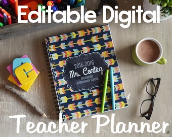 Editable Teacher Planner {Digital Files} - Chalkboard, Bright Colors and Fun Patterns