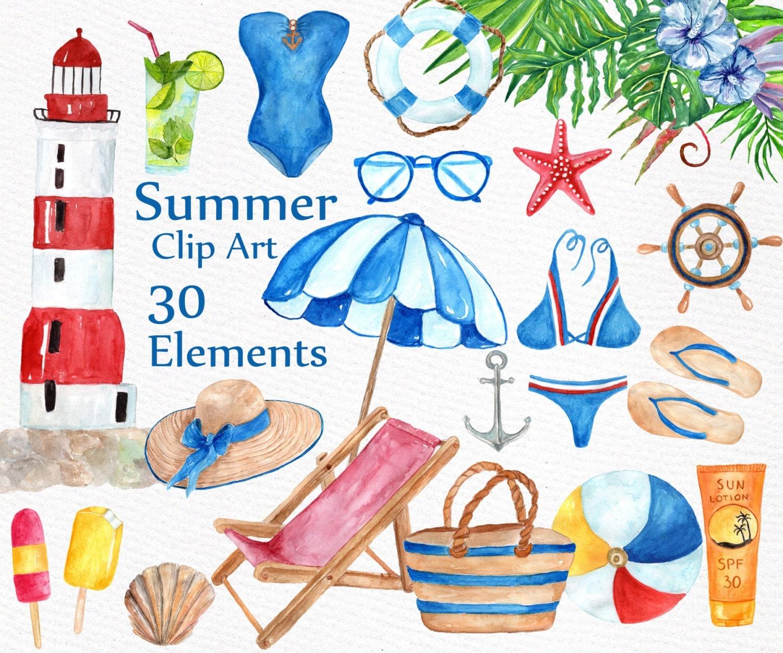 watercolor summer clipart quotnautical clipartquot beach