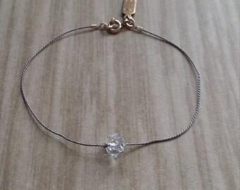 Sparkly Herkimer Diamond on Silk Thread Bracelet