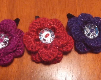 sparkly flower clips