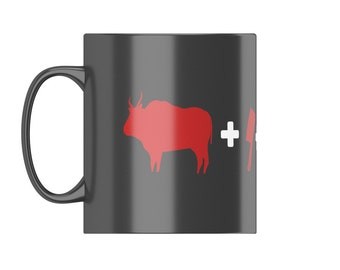 Cow+clever+fire+burger - MEAT EATERS MUG From FatCuckoo DM1329