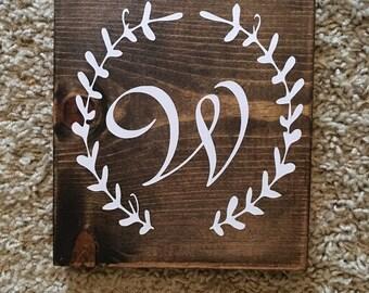 """Custom Inital 6x7"""" Wood Vinyl Sign"""