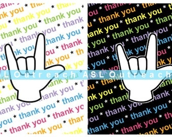 Ten ASL Thank You and I Love You UNLIMITED Printable Cards INSTANT Download