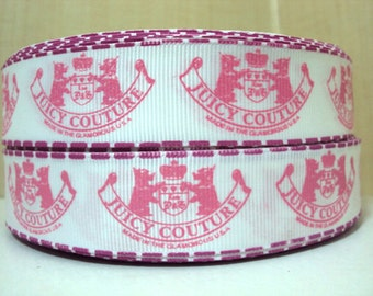 "1"" Wide Juicy Couture Inspired Grosgrain Ribbon You Choose How Many Yards You Want To Buy Or Buy The Full Roll"