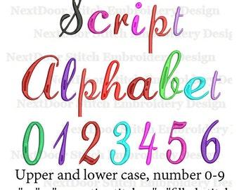 Script embroidery font design, Alphabet  big small cap a-z 0-9, BX files included,  font-027c
