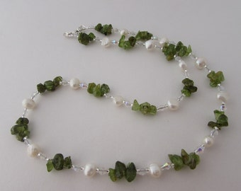 Peridot, Freshwater Pearl & Sterling Silver Necklace, Peridot Necklace, Pearl Necklace, Peridot and Pearl, Peridot Jewellery, Pearl Necklace