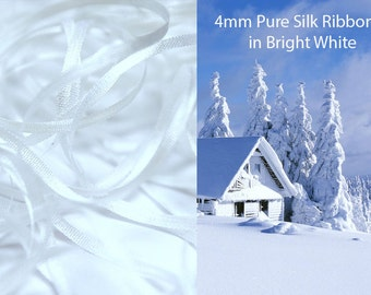 5 metres of 4 mm pure silk ribbon in WHITE