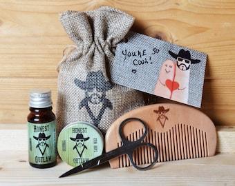 honest outlaw men 39 s beard grooming kit oil wax by honestoutlaw. Black Bedroom Furniture Sets. Home Design Ideas