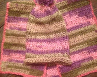 Crochet Scarf/Hat Set, One of A Kind