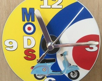 Mods, Blue Scooter, Target, CD Clock ( Can be Personalised)