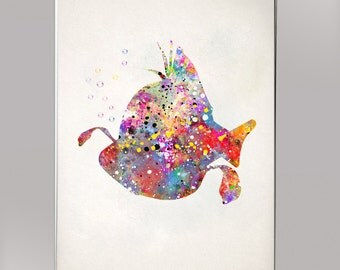 Flounder, Watercolor Print  Print Children's Wall Art Home Decor Wall Hanging