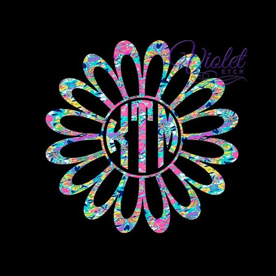 Flower Monogram-Yeti Decal-Circle Monogram Decal-Flower Decal-Laptop Decal-Flower Sticker-Window Decal