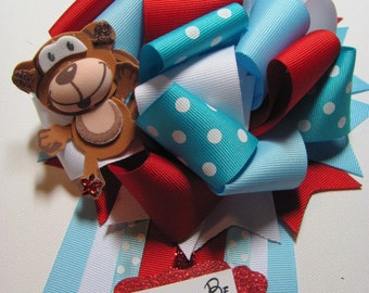 Mommy to Be Baby Shower Corsage / Baby Shower Corsage / Baby Blue Polka Dot Baby Shower Corsage / Monkey Baby Shower Corsage /