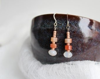 moonstone and carnelian earrings
