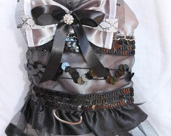 Dog Dress- Harness Dress- Platinum Sequence  Dog Dress