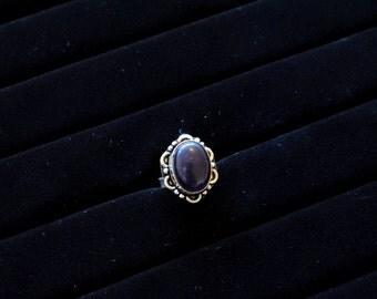 Deep Purple Stone Silver Ring