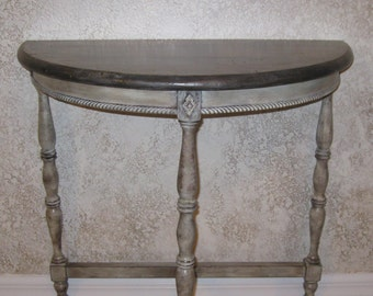 Shabby Chic Antique Half Moon Table, Entryway Table, Hallway Table, Hand Painted Gray and White Over Espresso