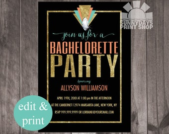 Bachelorette Party Invitation, art deco, last fling INSTANT DOWNLOAD