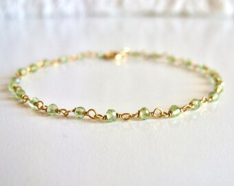 Green Amethyst Rosary bracelet // 14K gold vermeil // Delicate gold bracelet // Gemstone dainty bracelet // stackable bracelet