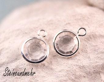 5 x clear pendant Ø7mm silver kind. 3258
