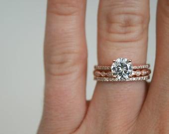 Round Moissanite Diamond, Engagement Ring, Rose Gold Band, Wedding set,  Moissanite Wedding set, Diamond, Rose Gold, Diamond