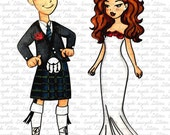 Scottish Couple - Bride - Groom Digital Stamp by Sasayaki Glitter - Naz - line art only