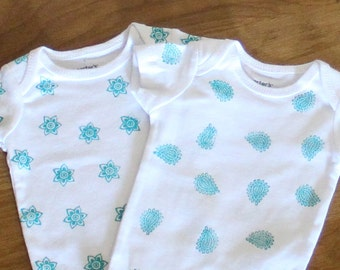 Two Hand Stamped Onesies, baby onesie