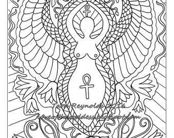 Pagan Art Goddess Art Coloring Page Mothers Day Divine