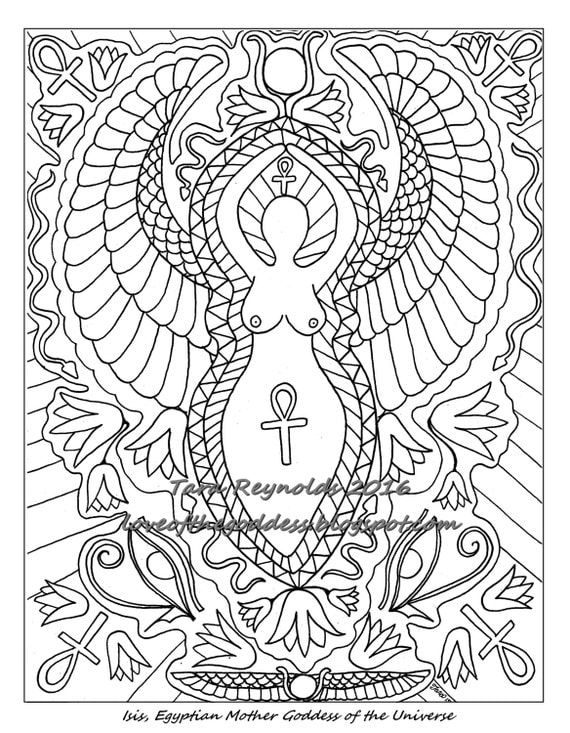 Coloring Pages For Adults Goddess Page Pagan Mandala Isis Egyptian