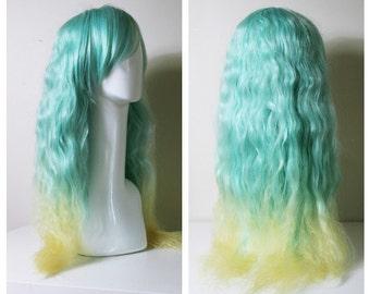 Aqua Fluffy mermaid cosplay/lolita/fashion wig