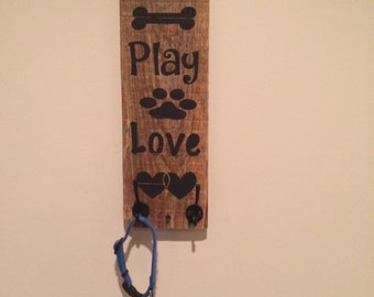 Pallet dog leash hooks