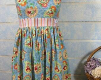 Size 8, Ladies vintage inspired dress, rockabilly dress, cherry dress, paisley dress