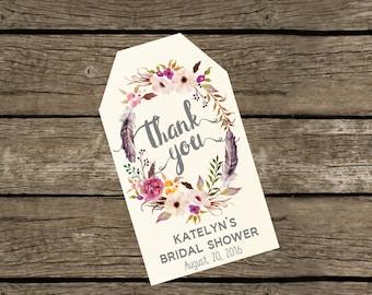 Thank You Tags Printable. Custom Bridal Shower Thank You Tags. Thank You Tags for Baby Shower. Thank You Tags for Wedding. Thank you Favors.