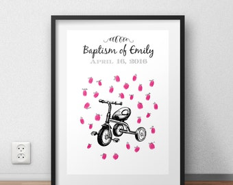 Poster prints for a gift of baptism baby bike child tricycle